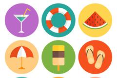 9款圆形夏季假期图标矢量素材