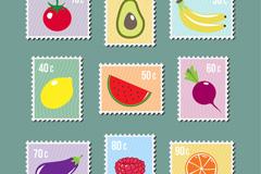 9款创意蔬菜水果邮票矢量素材