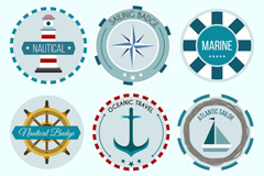 6款蓝色航海风格徽章矢量w88优德