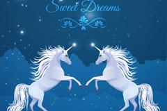 梦境中的两只银色独角兽矢量素材