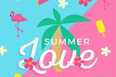 彩色夏季热带火烈鸟元素插画矢量