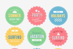 9款夏季度假元素标签矢量素材