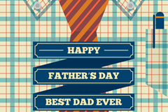创意格子衬衫父亲节祝福卡矢量素