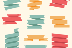10款彩色丝带条幅矢量素材