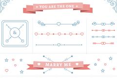 13款爱心元素花边和标签矢量图