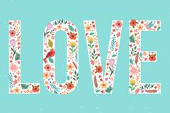 彩色花鸟装饰爱LOVE的艺术字矢量素材