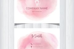 粉色水彩名片设计矢量素材