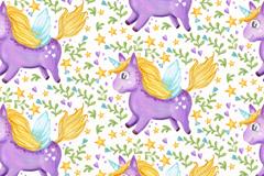 紫色独角兽无缝背景矢量素材