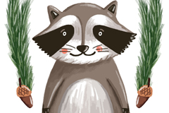 可爱水彩绘小浣熊乐虎娱乐