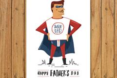 卡通超人父亲节日贺卡矢量图