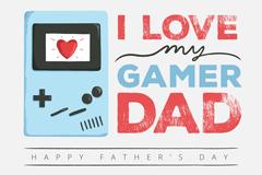 创意游戏机父亲节贺卡矢量图