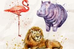3款水彩绘非洲动物矢量素材