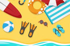 夏季度假沙滩元素俯视图矢量素材