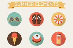 9款圆形夏季元素图标矢量素材