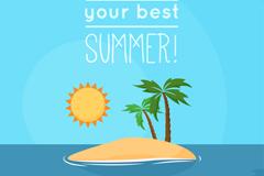卡通夏季海中椰树小岛矢量素材