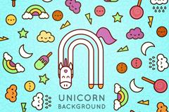 彩色独角兽和冷饮卡通无缝背景矢量素材