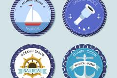 4款蓝边航海元素徽章矢量素材
