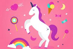 紫色鬓毛独角兽和彩虹矢量素材