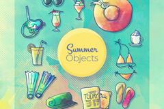 12款彩绘夏季度假元素矢量素材