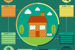 彩色房屋房地产信息图矢量素材