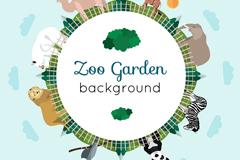 创意动物园地球村插画矢量素材