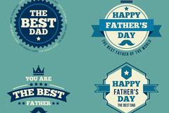 4款蓝色父亲节标签矢量素材