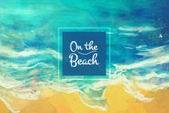 水彩绘海边沙滩风景矢量素材