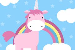 卡通粉色独角兽和彩虹矢量素材