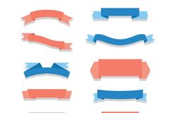 12款粉色和蓝色丝带条幅矢量素材