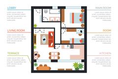 创意房屋户型图设计矢量素材
