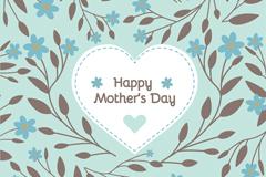 创意母亲节蓝色花卉贺卡矢量素材