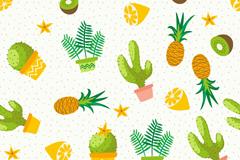 水彩绘水果和多肉植物无缝背景矢量图