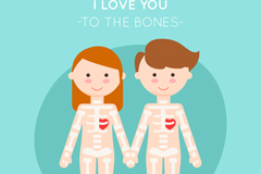 创意拉手骨骼情侣矢量素材