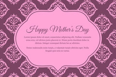紫色花纹母亲节贺卡矢量素材