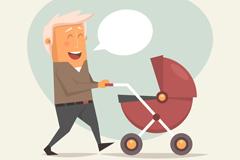卡通推婴儿车的男子矢量素材