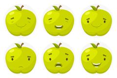 9款绿色苹果表情矢量素材