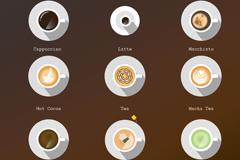 9款美味咖啡俯视图矢量素材