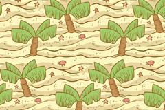 沙滩椰子树无缝背景矢量素材