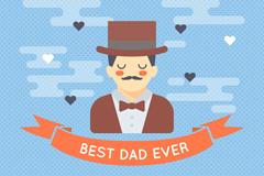 戴礼帽的男子父亲节贺卡矢量素材