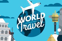 彩色世界旅行建筑元素插画矢量素材
