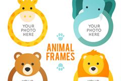 4款卡通动物空白相框矢量素材