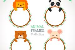 4款可爱动物空白框架矢量素材