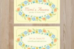 清新花卉装饰名片正反面矢量素材