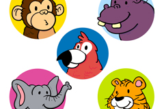 5款彩色可爱动物头像矢量素材