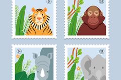 4款创意动物邮票矢量素材