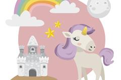 紫色独角兽和城堡矢量素材