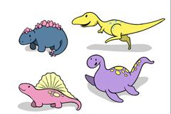 4款卡通恐龙设计矢量素材