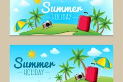 2款夏季假期banner矢量素材