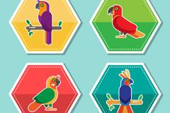 4款彩色六边形鹦鹉标签矢量素材