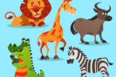 5款卡通非洲动物矢量素材